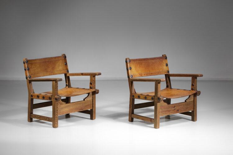 Paire de fauteuils suédois safaris bois cuir design vintage années 50