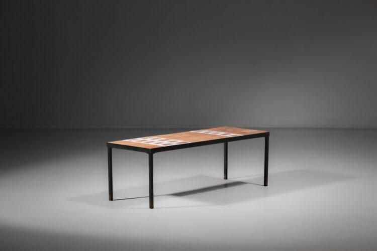Table basse en céramique Herbier par roger capron et émaille blanche F300