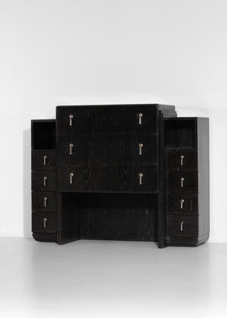 commode meuble à tiroir art deco noir cerusé style paul follot