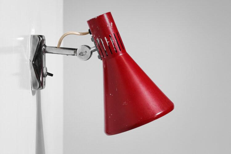 paire d' applique stilnovo laquées rouge années 60 rouge D414