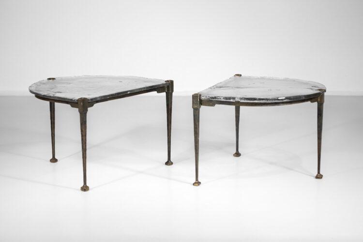 paire de bout de canapé table basse en bronze Lothar klute