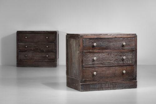 paire de commodes en bois cerusé années 40 style jean michel Franck E249