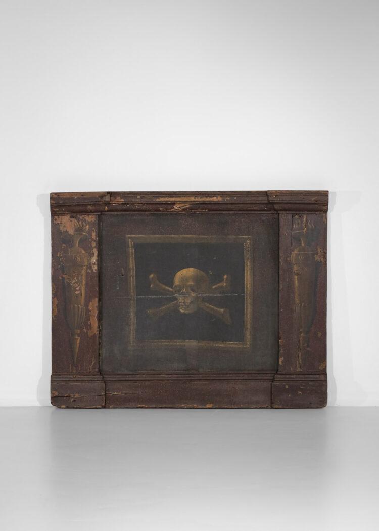 paire de panneaux décoratifs toiles à décor de tête de mort