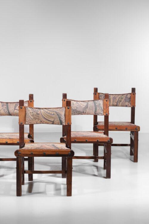 suite de 6 chaises bresiliennes des années 60 en cuir et bois massif
