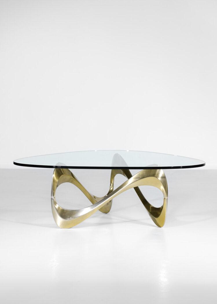 table basse boomerang alumium anodisé doré années 70