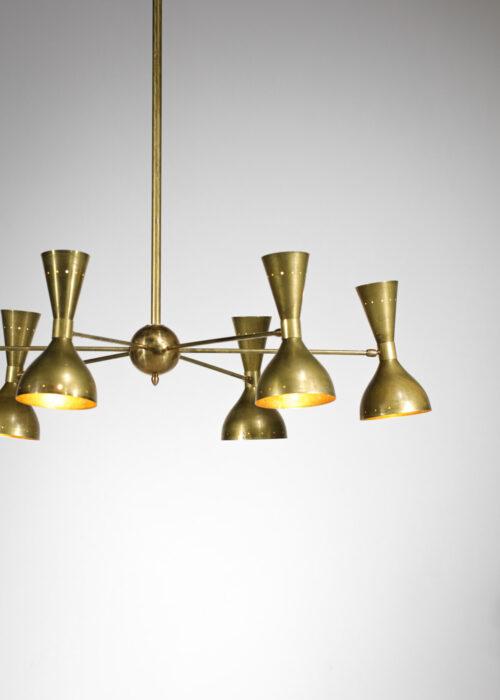 Lustre moderne Italien Patina dans le goût de Stilnovo design vintage 6 branches