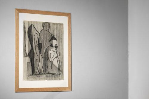 Marceau Constantin Dessin au fusain sur papier Ingres, signé