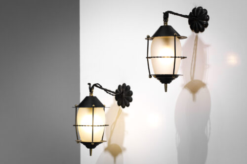 lot de 3 lanterne métal laqué verre dépoli design vintage