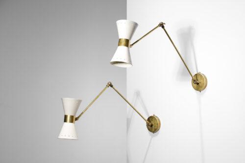 paire d'appliques modernes italiennes design Stilnovo blanches articulées
