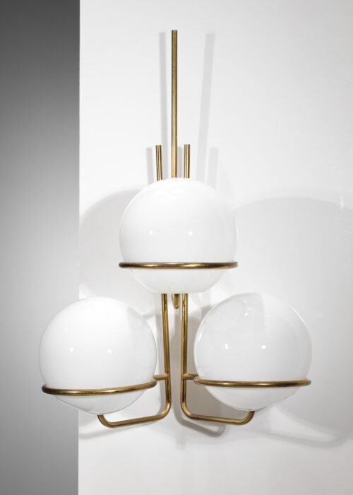 paire de grandes appliques italiennes années 60 3 globes en opaline